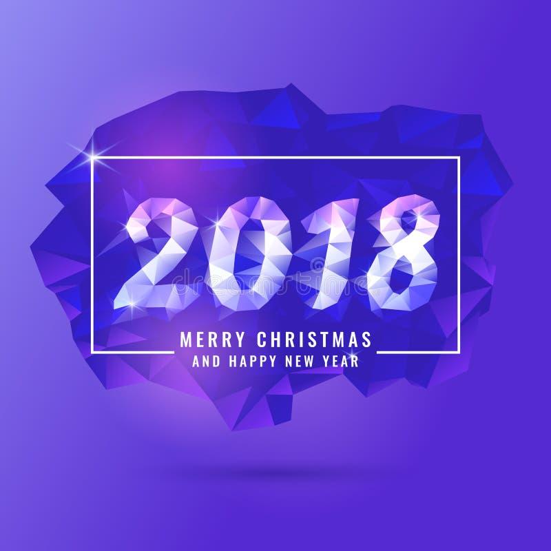 2018年圣诞快乐和新年快乐 抽象多角形对象在背景中 低多设计 皇族释放例证