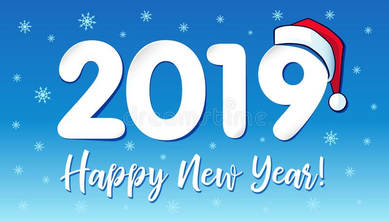 2019年在圣诞老人帽子,新年快乐卡片设计