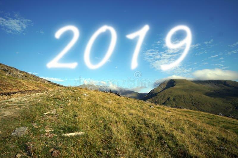 2019年在蓝天 Snowdonia国家公园,威尔士,英国 免版税库存照片