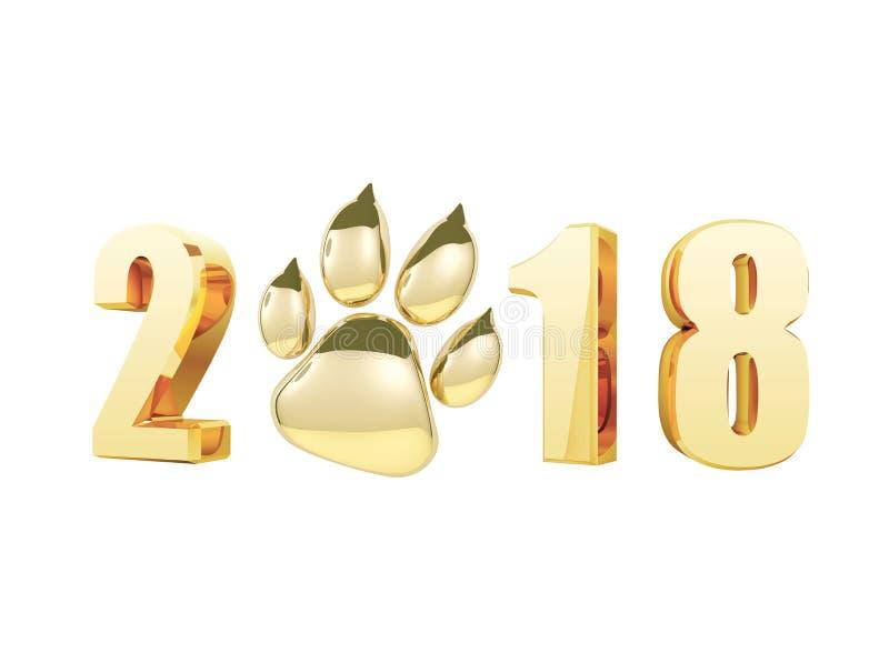 2018年在金子的新年快乐和glden爪子在白色背景隔绝的印刷品象 狗爪子脚印3D翻译 向量例证