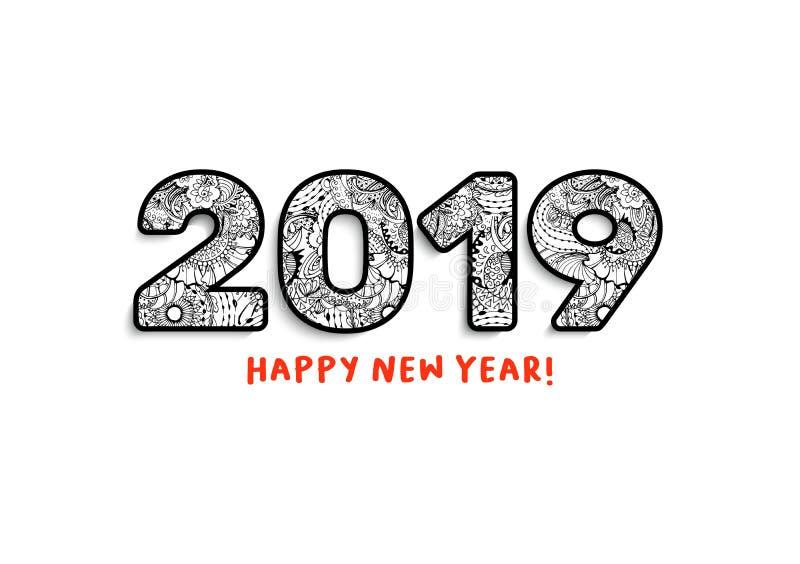 2019年字法,新年快乐问候或日历封面的