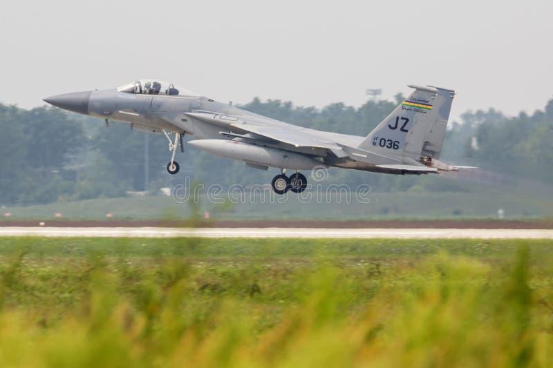 2018年密歇根雷电航展F-15鹰 免版税库存照片