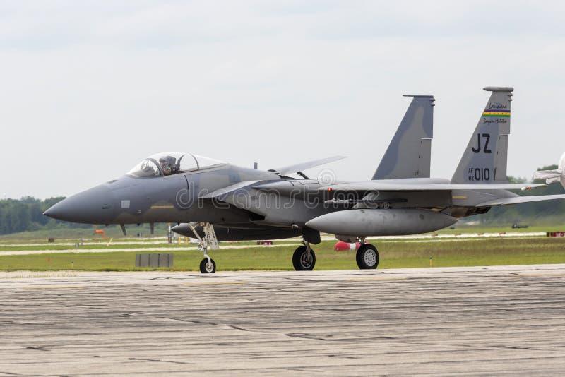2018年密歇根雷电航展F-15鹰 库存照片