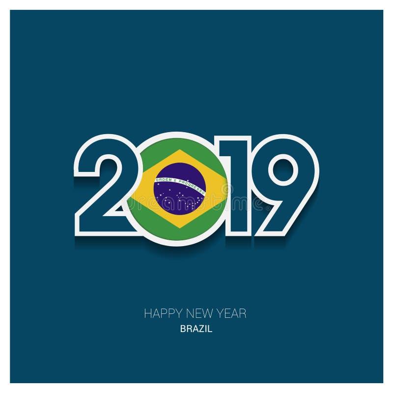 2019年巴西印刷术,新年快乐背景 向量例证