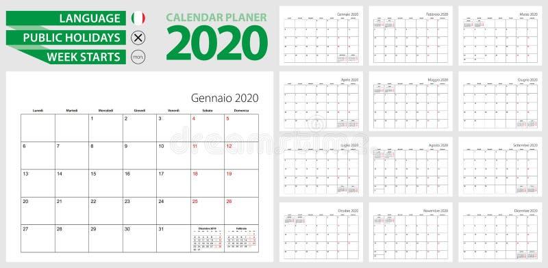 2020年意大利日历规划器 意大利语,星期一开始 意大利、瑞士、圣的矢量日历模板 皇族释放例证