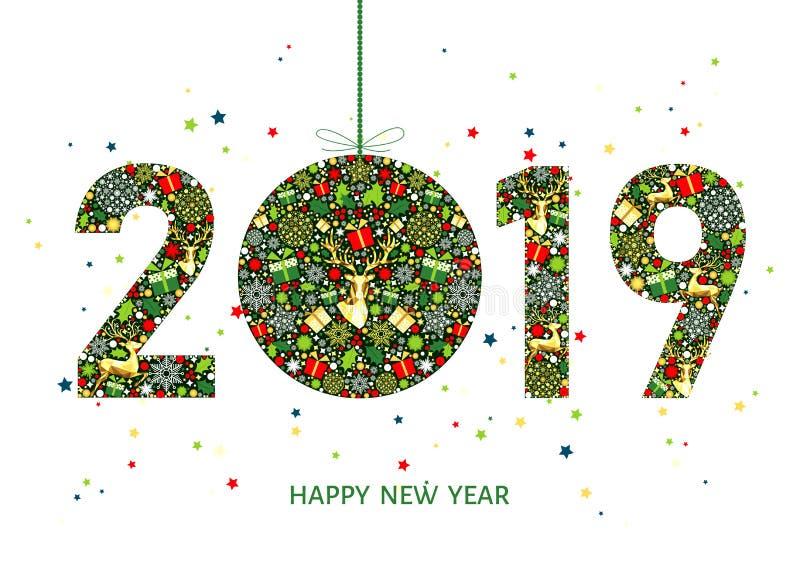 2019年新年快乐与圣诞节球的贺卡图片