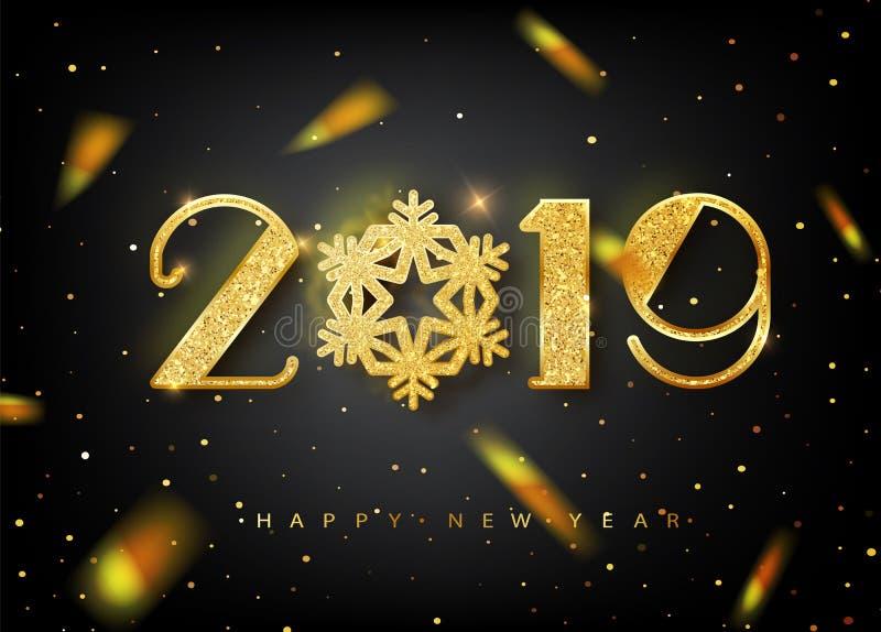 2019年新年快乐与金子数字的贺卡在黑背景 也corel凹道例证向量 圣诞图片