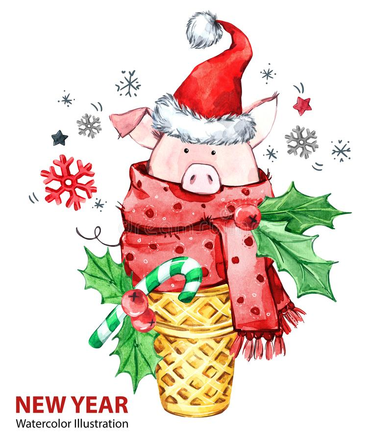2019年新年快乐例证 圣诞节 与圣诞老人帽子的逗人喜爱的猪在奶蛋烘饼锥体 问候水彩点心 符号 皇族释放例证