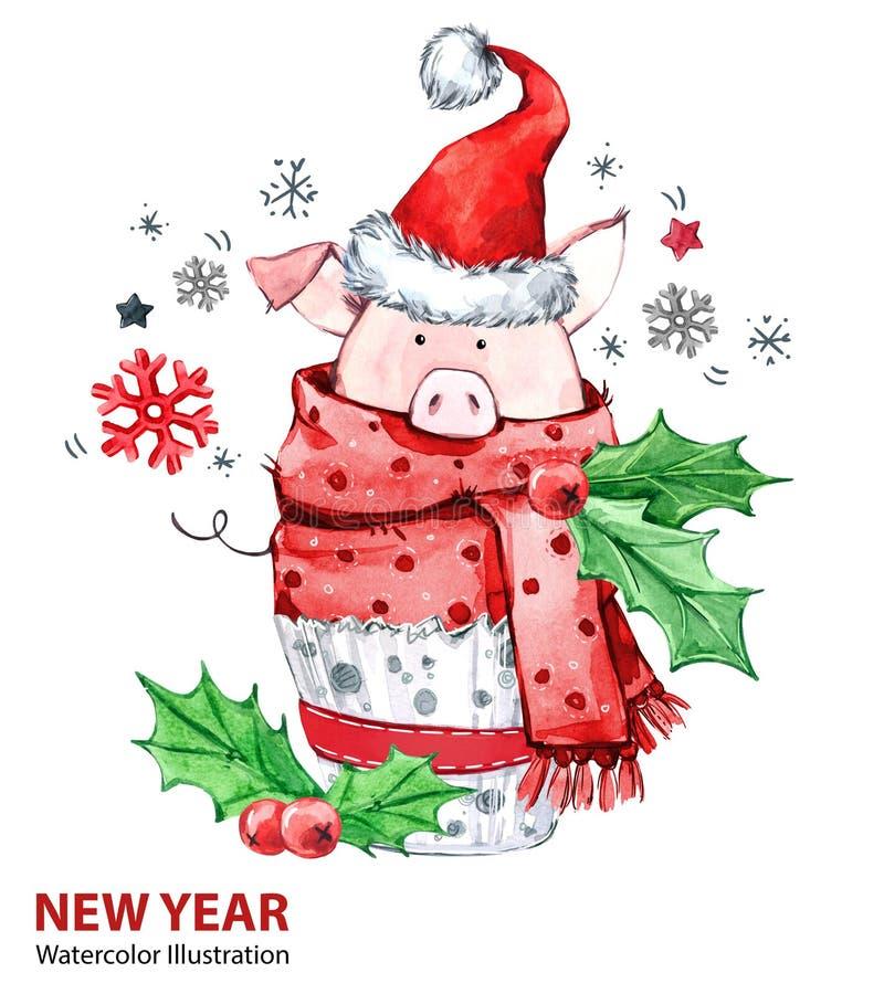 2019年新年快乐例证 圣诞节 在冬天围巾的逗人喜爱的猪有圣诞老人帽子的 问候水彩蛋糕 符号 向量例证