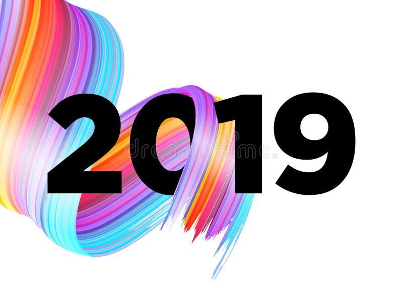 2019年新年快乐商标设计 向量背景 库存例证