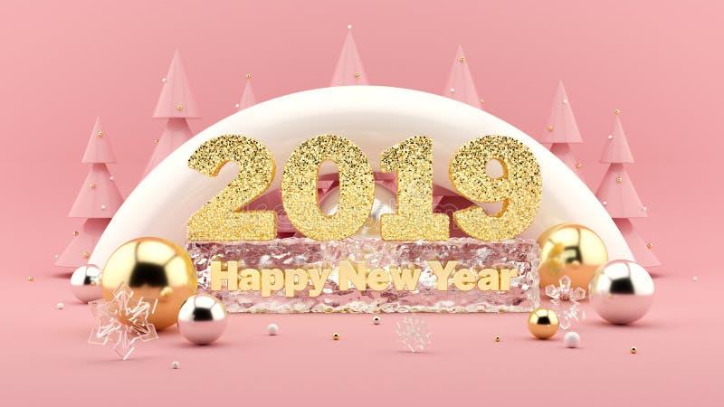 2019年新年快乐在千福年的桃红色颜色的愿望3D构成和与装饰的圣诞树 向量例证