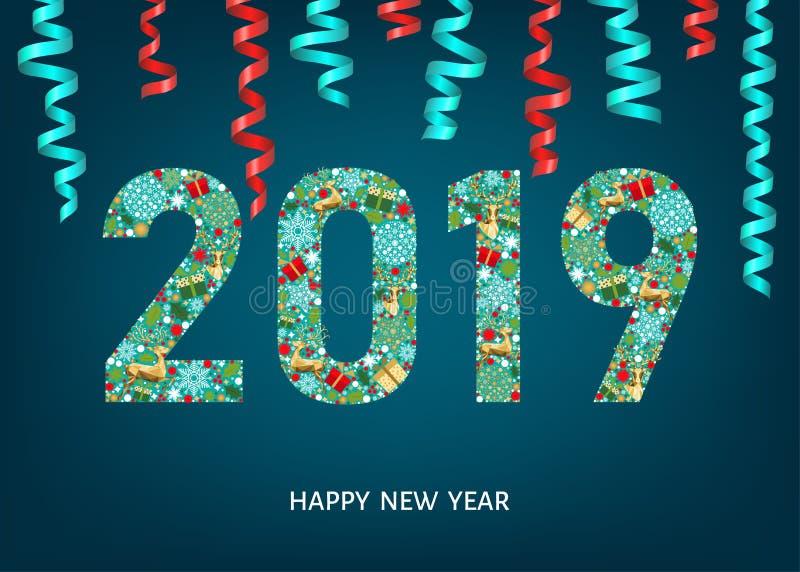 2019年新年快乐在蓝色背景的贺卡图片