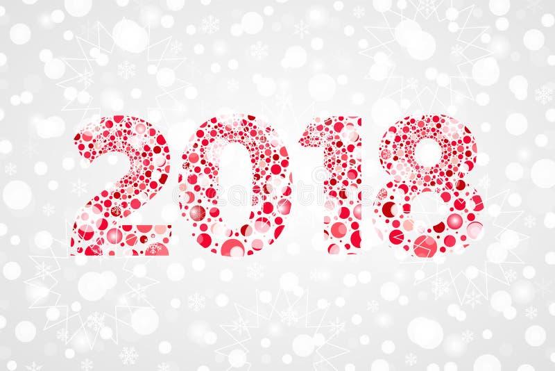 2018年新年快乐摘要泡影传染媒介例证 寒假庆祝的雪标志 装饰雪背景 向量例证