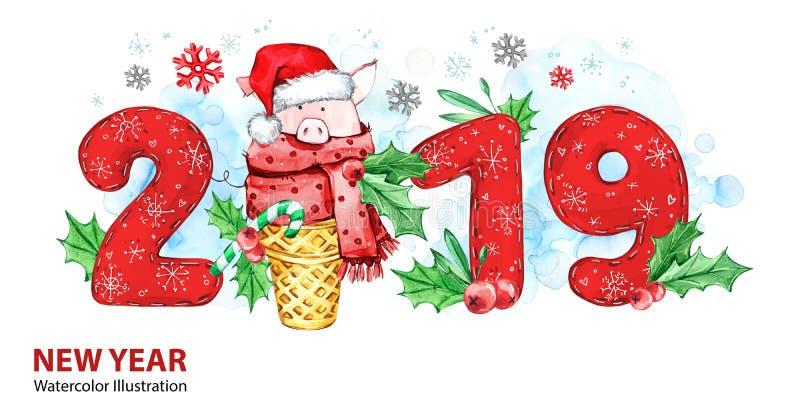 2019年新年快乐横幅 与圣诞老人帽子的逗人喜爱的猪在奶蛋烘饼锥体和数字 问候水彩例证 符号 向量例证