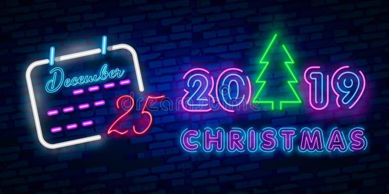 2019年新年快乐氖文本 2019新年季节性飞行物和贺卡或者圣诞节主题的邀请的设计模板 免版税库存照片