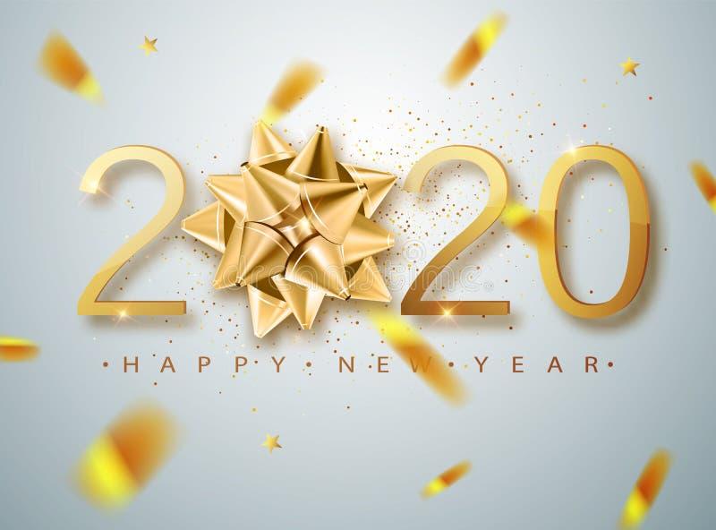 2020年新年快乐矢量图背景,带金礼弓、彩纸、白色数字 冬日贺卡设计 向量例证