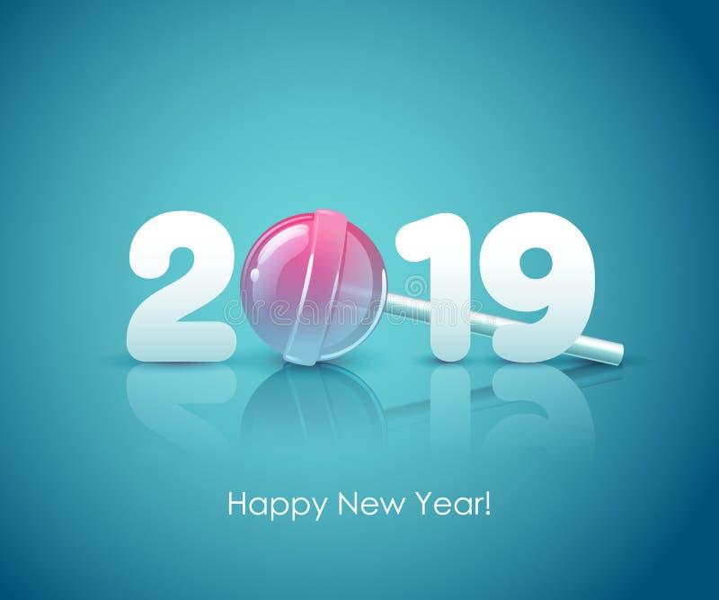 2019年新年快乐背景 季节性贺卡模板