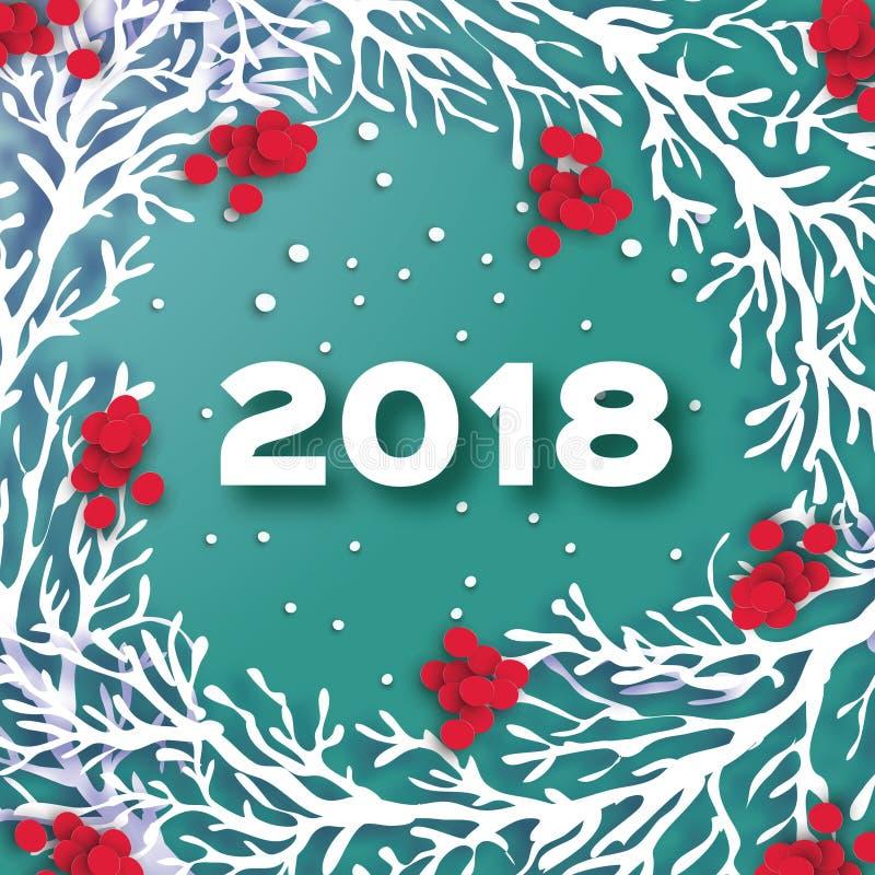 2018年新年快乐背景 纸与花揪分支和红色莓果的裁减花圈 冬天雪花 3D Origami圈子 向量例证