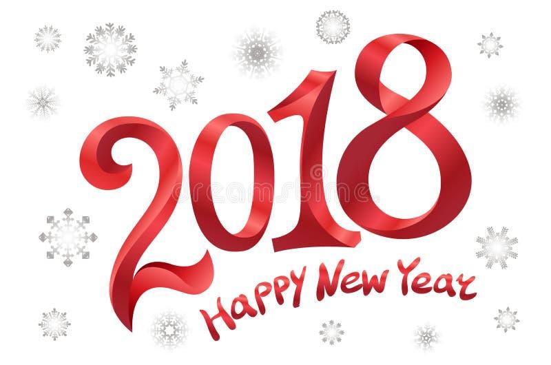 2018年新年快乐设计 在白色背景的现代红色文本设计 雪花传染媒介例证 皇族释放例证