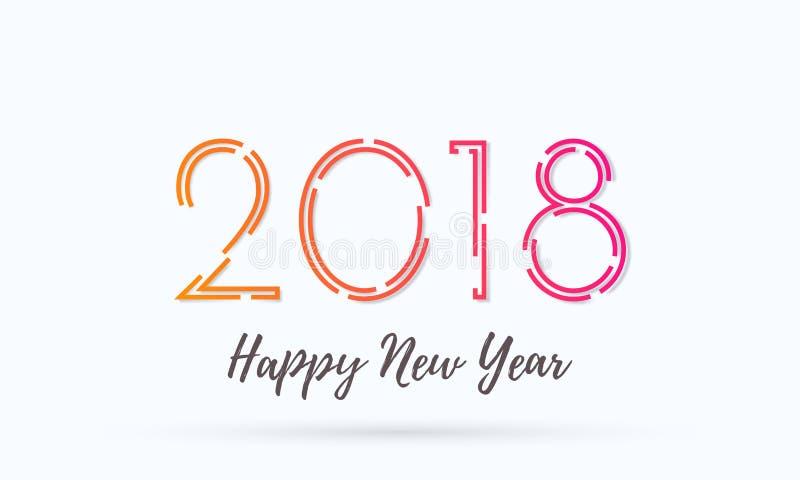2018年新年快乐贺卡背景传染媒介愿望文本设计 向量例证