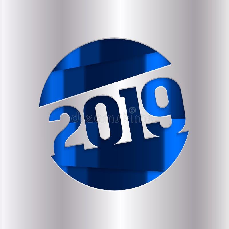 2019年新年快乐贺卡 从锡箔cutted的数字 向量 向量例证