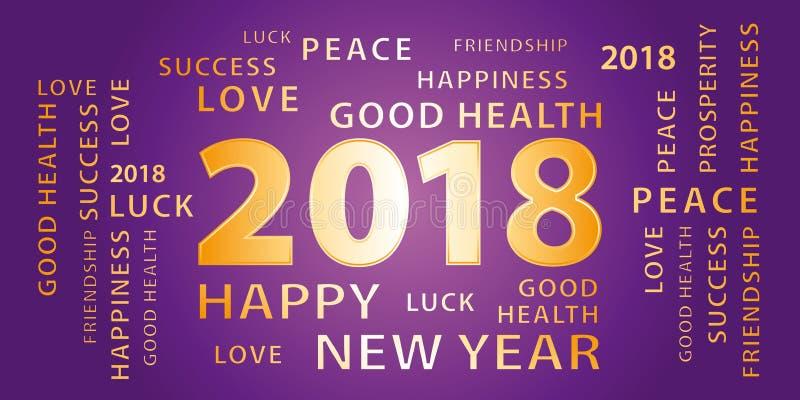 2018年新年快乐问候横幅 紫色和金子 皇族释放例证