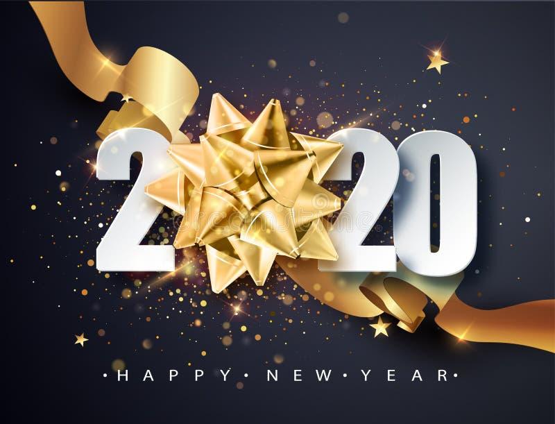 2020年新年快乐 2020年新年快乐 — 金色礼弓和亮晶晶的闪亮背景 新年快乐 向量例证