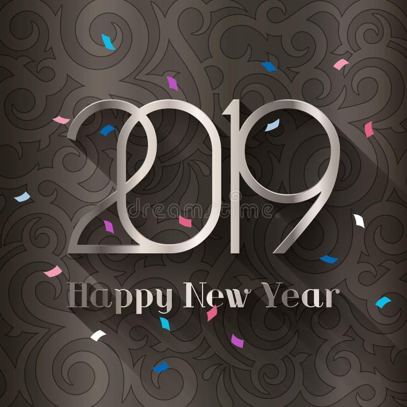 2019年新年快乐 假日贺卡和邀请的设计模板 银色文本和数字 向量 库存例证