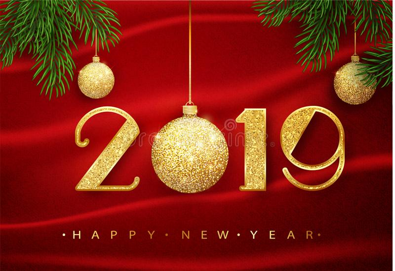 2019年新年快乐 导航2019年与金黄闪烁球的新年快乐背景 向量10 eps 库存例证