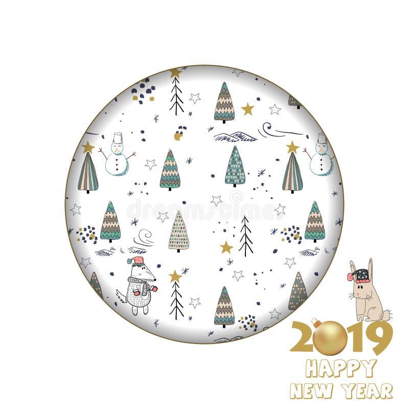 2019年新年快乐 您的设计的卡片与冬天森林 皇族释放例证