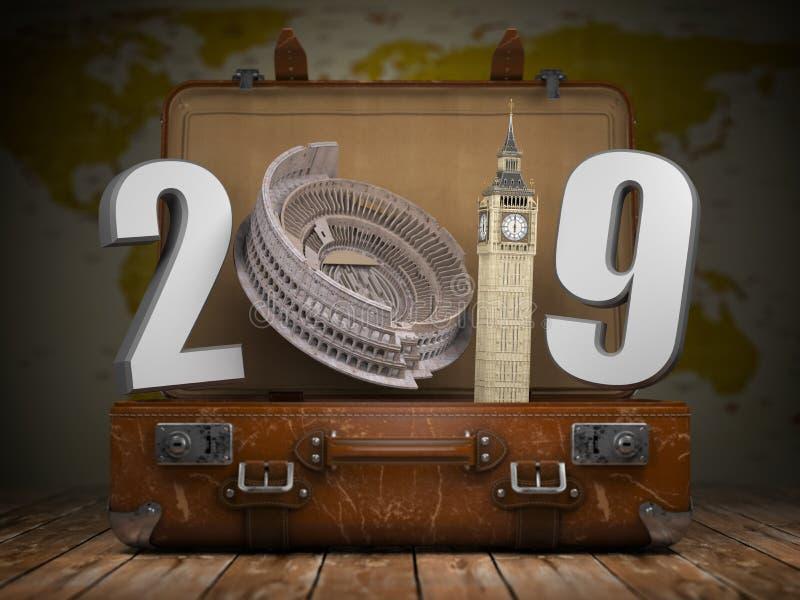 2019年新年快乐 有第的2019葡萄酒手提箱作为Colois 向量例证
