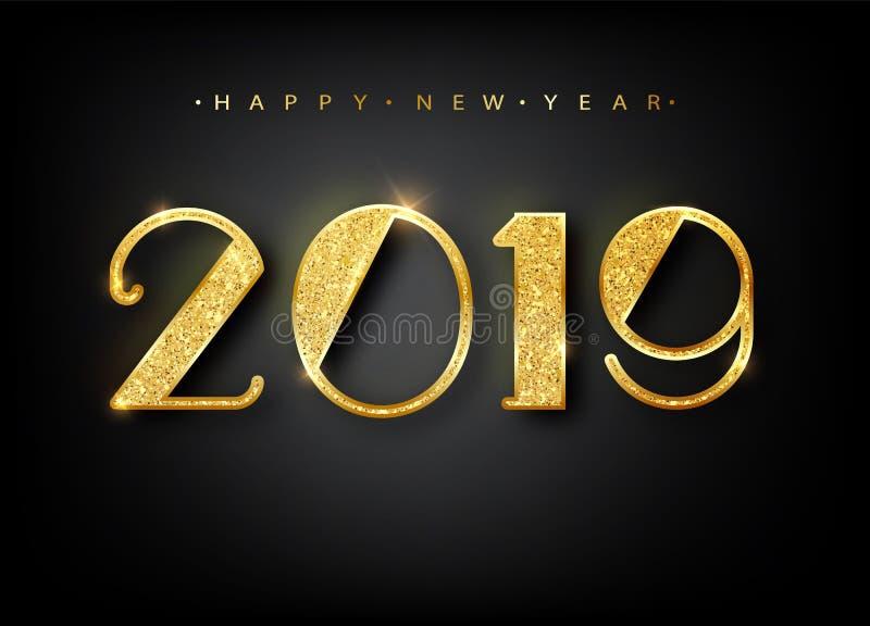 2019年新年快乐 金子贺卡数字设计  金光亮的样式 与2019个数字的新年快乐横幅 库存图片