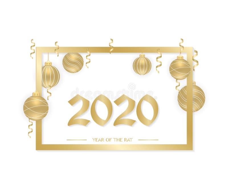 2020年新年快乐 金挂球,彩带,框的新年背景 文本,设计元素 皇族释放例证