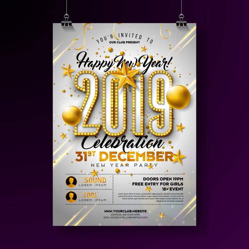 2019年新年聚会庆祝海报与电灯泡数字的模板例证和金子在白色的圣诞节球 向量例证