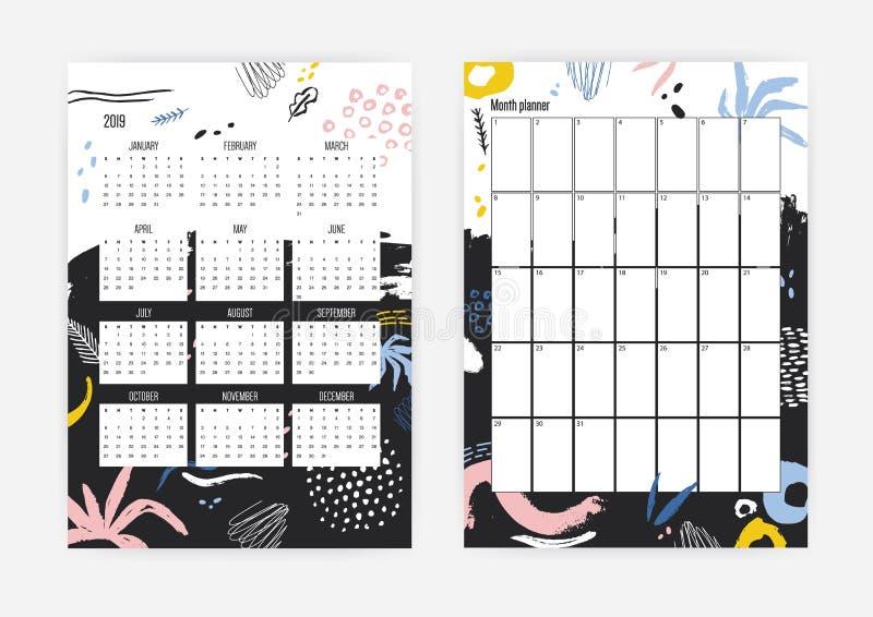 2019年日历和月度计划者模板的汇集装饰以抽象五颜六色的污点,杂文 向量例证