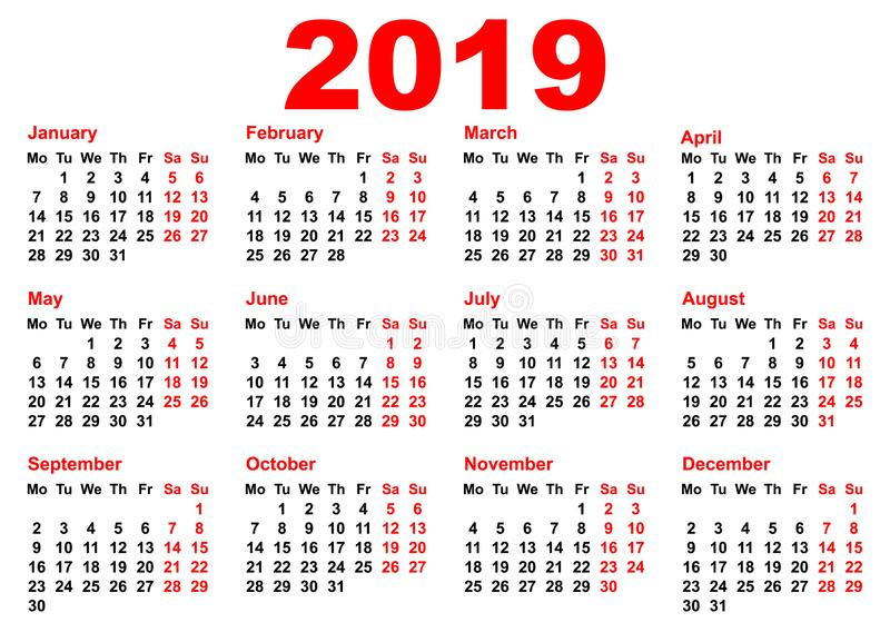 2019年日历模板栅格口袋水平的取向 库存例证
