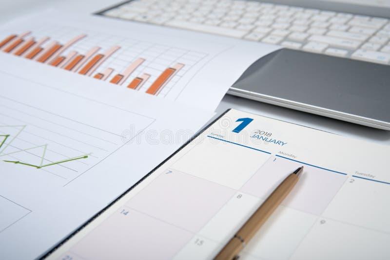 2018年日程表书,企业概念 库存图片
