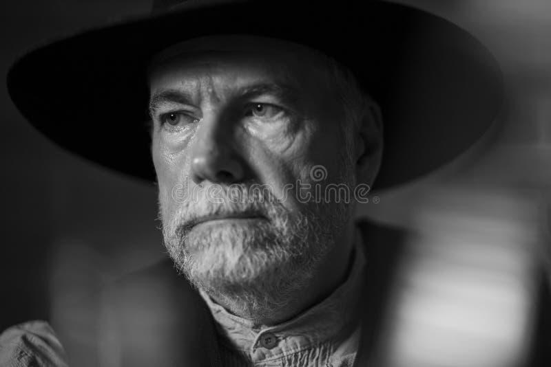 1880年旧西部牛仔肖像 图库摄影