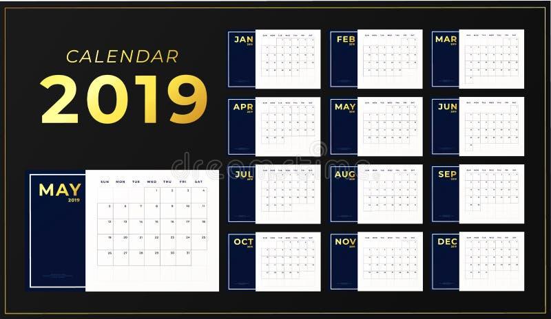 2019年桌日历模板 有金黄题字的水平的天计划者 在星期天,星期开始 向量例证