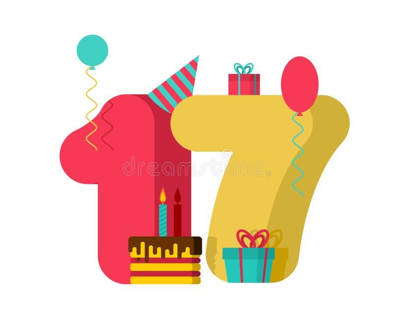 17年生日标志 第17模板贺卡周年c 皇族释放例证