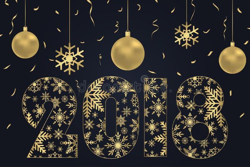 2018年由与金子圣诞节球和金黄五彩纸屑的雪花-做的新年快乐卡片 假日海报,横幅 向量 皇族释放例证