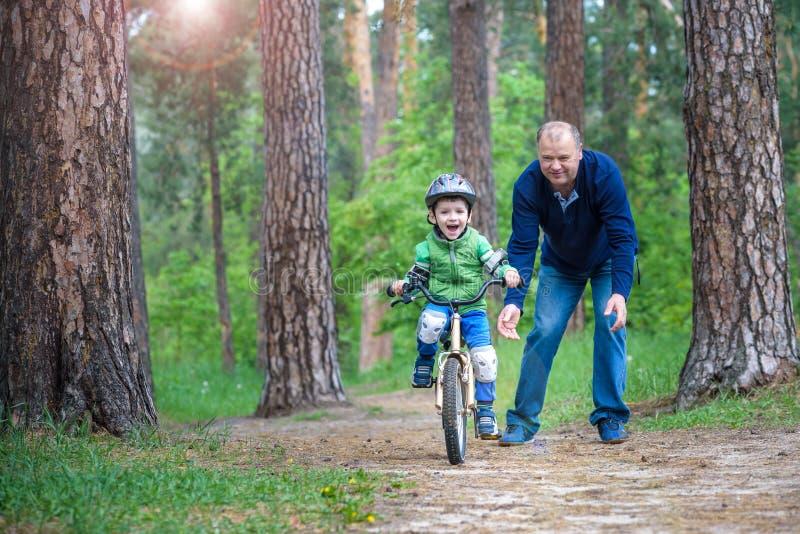 3年的小孩男孩和他的父亲在有a的秋天森林里 库存照片