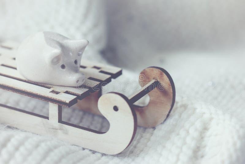 年的标志由占星的,在一个木雪撬的小黏土猪在被编织的毛线衣 免版税库存照片