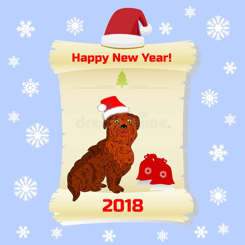 年的标志,狗在圣诞老人盖帽和礼物,在parchme 库存例证
