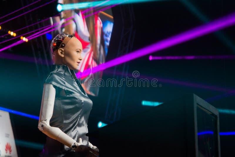 26 06 2018年索非亚,保加利亚:WEBIT节日,从汗森机器人学的索菲娅AI机器人 库存照片