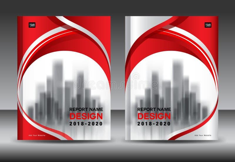 年终报告小册子飞行物模板,红色盖子设计 库存例证