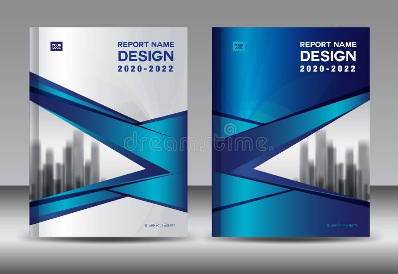 年终报告小册子飞行物模板,蓝色盖子设计,商业广告,杂志广告,编目传染媒介 向量例证