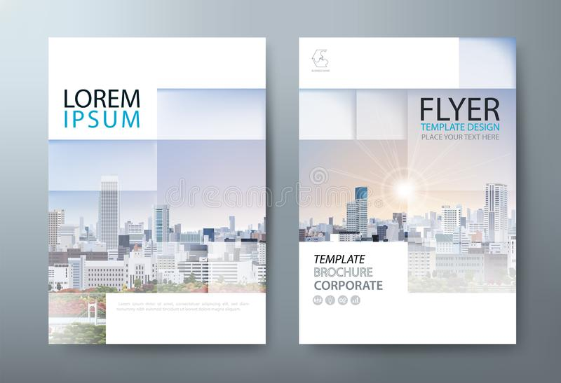 年终报告小册子飞行物设计模板传染媒介,前传单 库存例证