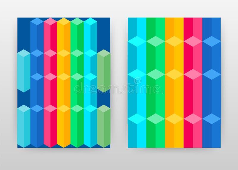 年终报告的,小册子,飞行物,海报几何3D五颜六色的立方体业务设计 几何立方体背景传染媒介 向量例证