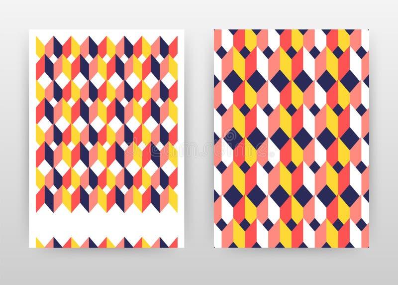年终报告的,小册子,飞行物,海报红色黄色几何立方体企业背景设计 黄色红色几何立方体传染媒介 向量例证